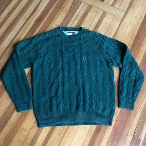 Tommy Hilfiger Men's Green Cable Knit Sweater L